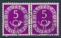 Bund Nr. 125 gestempelt, waagerechtes Paar 5 Pfg. Posthorn (22356)
