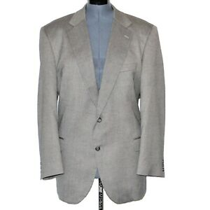Alan Flusser Mens Sport Coat Size 48R Gray Silk & Worsted Wool Red Lining