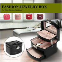 Large Leather Jewellery Box Storage Organizer Ring Earring Necklace Case Gift