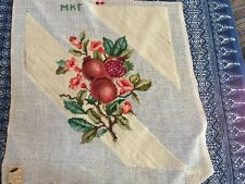"""Vintage Needlepoint Canvas Pomegranates Work Started 16 3/4"""" x 15"""" Pillow Cover"""