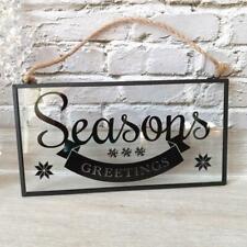 Seasons Greetings Black Framed Glass Hanging Christmas Wall Sign