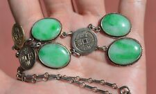 1930's Chinese Gilt Solid Silver Coin & Green Jade Jadeite Carved Necklace