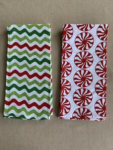 Set Of 2 Crate And Barrel Dishtowel Peppermint Red White Green Ric Rac 20x30