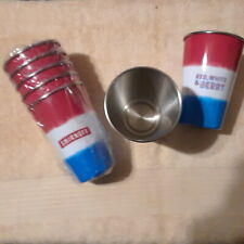 SMIRNOFF RED WHITE & BLUE 13.0Z STAINLESS STEEL CUPS SET OF 6 NEW