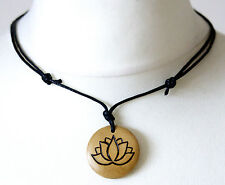 Colgante Lotus Collar Padma Lotus Regalo Espiritualidad De Madera Colgante De Meditación