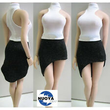 1:6th Custom Woman's Clothing White High Collar PL54 T-Shirt Black Skirt Fashion