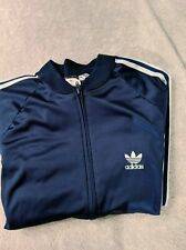 93e25fe8d Vintage 80s Adidas ATP Track Jacket Navy Large Made In Usa Run Dmc Era EUC
