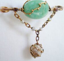 Stunning Antique Arts & Crafts 9ct Gold Jade Ruby & Baroque Pearl Brooch c1890