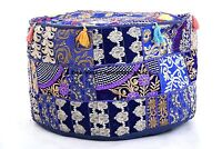 """Embroidered Ottoman Pouf Cover Bohemian 18"""" Seat Bean Bag Indian Footstool Puff"""