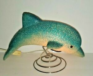 "Dolphin 10.5"" Desk Table Glow Lamp Night Light; Plastic Popcorn"