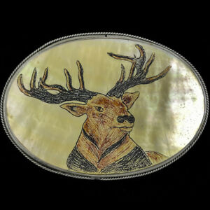 Buck Deer Stag Hunter Hunting Western Cowboy Gift 80s Vintage Belt Buckle O263