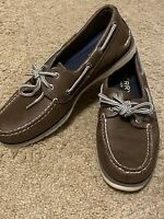 MEN'S SPERRY TOP SIDER BROWN LEATHER BOAT SHOES SIZE 7.5 M (STYLE#STS1502)