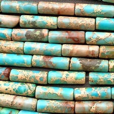Turquoise Imperial Jasper Tube 14x4mm Semi Precious Stone Q14 Beads Per Pkg