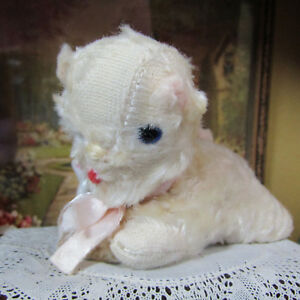 Vintage Antique 50s Doll Pet KITTEN CAT White Miniature Stuffed Animal Toy 1950s