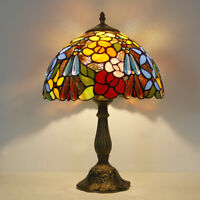 "Retro Tiffany Style Rose Beads table lamp 12"" Stained Glass Table Reading Lamp"