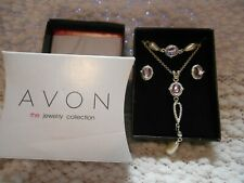 NEW AVON Amethyst Set  Bracelet Necklace and Earrings #32425 NEW in Box OSR2