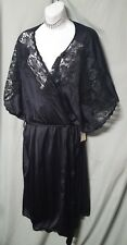 "VENTURA 42"" SEXY BLACK W/ LACE NYLON ROBE W/CAP SLEEVE  SIZE 5X GIFT 70"" BUST"