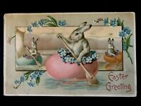 Cute~Bunny Rabbit in Egg Rowboat with Flowers~Antique~Easter Postcard-b5