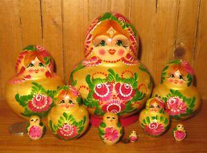 SLIGHT SECONDS GOLD Red Flowers Matryoshka Nesting Dolls Russian Babushka10 Gift