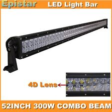 52INCH 300W 4D Lens LED Screw Light Bar Combo Lamp for Truck Boat SUV 4x4 USA