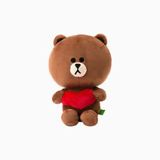 """LINE Friends Character Heart BROWN Sitting Doll 10""""(25cm) Stuffed Plush Cuddle"""