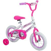 12 Inch Girl's Bike Kids Bicycle With Training Wheels Beginner Pink Huffy New