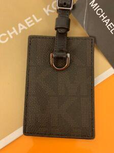 Michael Kors NWT Jet Set Travel Luggage Tag Holder Brown Leather MK Logo $85