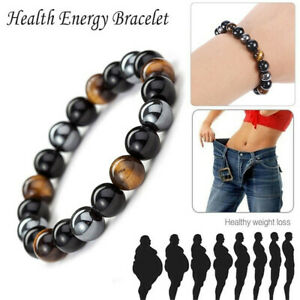 Energy Healing Natural Tigerauge Stein Stretch Armband Hämatit Schwarz Obsidian