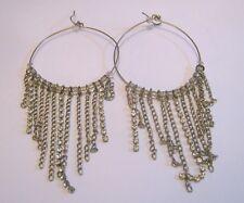 Lovely silver tone metal hoop style earrings dangles white stone 5 cm wide