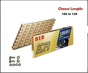 D.I.D DID 520 ERV7 Xring Sealed Motorcycle Drive Chain Gold w/ Rivet Master Link