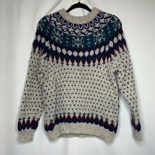 Fair Isle Nordic Sweater wool Woolrich Vintage women teal and purple