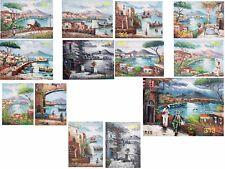 1 dipinto olio su TELA  30x40 cm quadro napoli panorama vesuvio pulcinella