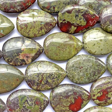 Dragon Blood Jasper Quartz 30x22mm Teardrop Semi Precious Stone Beads Q1 Strand