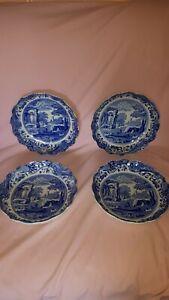 4 tiefe Teller SPODE Blue Italian Design gewellter Rand Made in England 21 cm