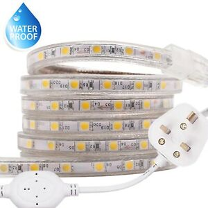 Led Strip Lights 220V 240V Waterproof 120LED/M 5050 SMD IP67 Tape Rope With Plug