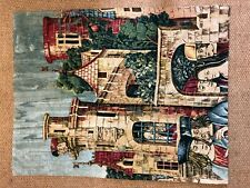 "THE CASTLE FULLY LINED 35"" x 28"" FLEMISH SILK SCREEN TAPESTRY WALL HANGING"