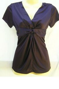 Net Collection Blouse Fitted Shirt Top Plum Purple  Ladies Size S 8 NWOT