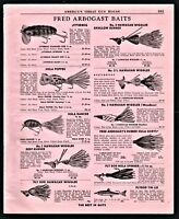 1954 FRED ARBOGAST Fishing Lure Antique Vintage AD 11 models w/prices