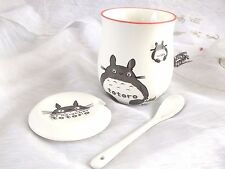JAPANESE MY NEIGHBOR TOTORO WHITE TEA COFFEE SOUP MUG CUP SPOON LID BOX PARTY D4