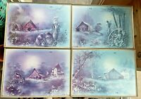 Andres Orpinas 4 Vintage Mid Century TV Dinner Trays W/Cart Country Barn Scenes