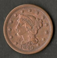 USA Large Size Copper One Cent 1849 VF+