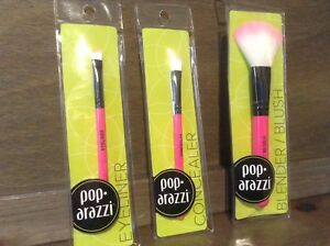 Poparazzi PINK Concealer Brush, Eyeliner Brush AND BLENDER BRUSH NEW LOT OF 3