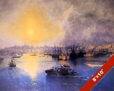 CONSTANTINOPLE ISTANBUL SHIPS SAILBOAT SEASCAPE PAINTING ART REAL CANVAS PRINT