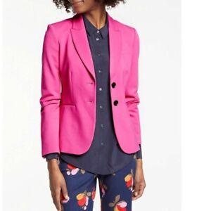 NWT Boden Solid Pink Elizabeth Ponte 2-Button Blazer Jacket Women's Size 6P