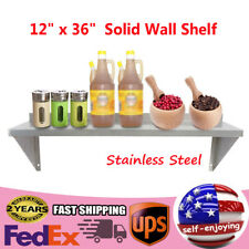 Stainless Steel Solid Wall Shelf Commercial Kitchen Restaurant 12 X 36 Top