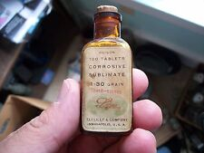 PRETTY HONEY AMBER ELI LILLY LABELED POISON CORROSIVE SUBLIMATE ANTIDOTE LABEL