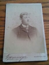 015 VTG Cabinet Card Photograph Young Man in Suit Hanover PA DA Frommeyer