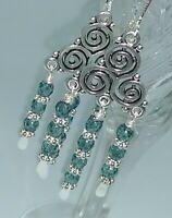 Czech Glass Seafoam Blue Chandelier Leverback Earrings
