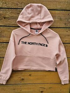 NORTH FACE Cropped hoody Size Small UK 8 Nude pink & black lettering
