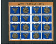 COLOMBIA  2002 PRECOLUMBIAN ARTIFACTS 3 SHEETS X 16 MNH
